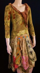 Art dress made of an eco dyed piece of underwear mens ties and pieces of dyed silk shirts