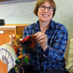 Jeanne-marie unpicking her dahlia piece